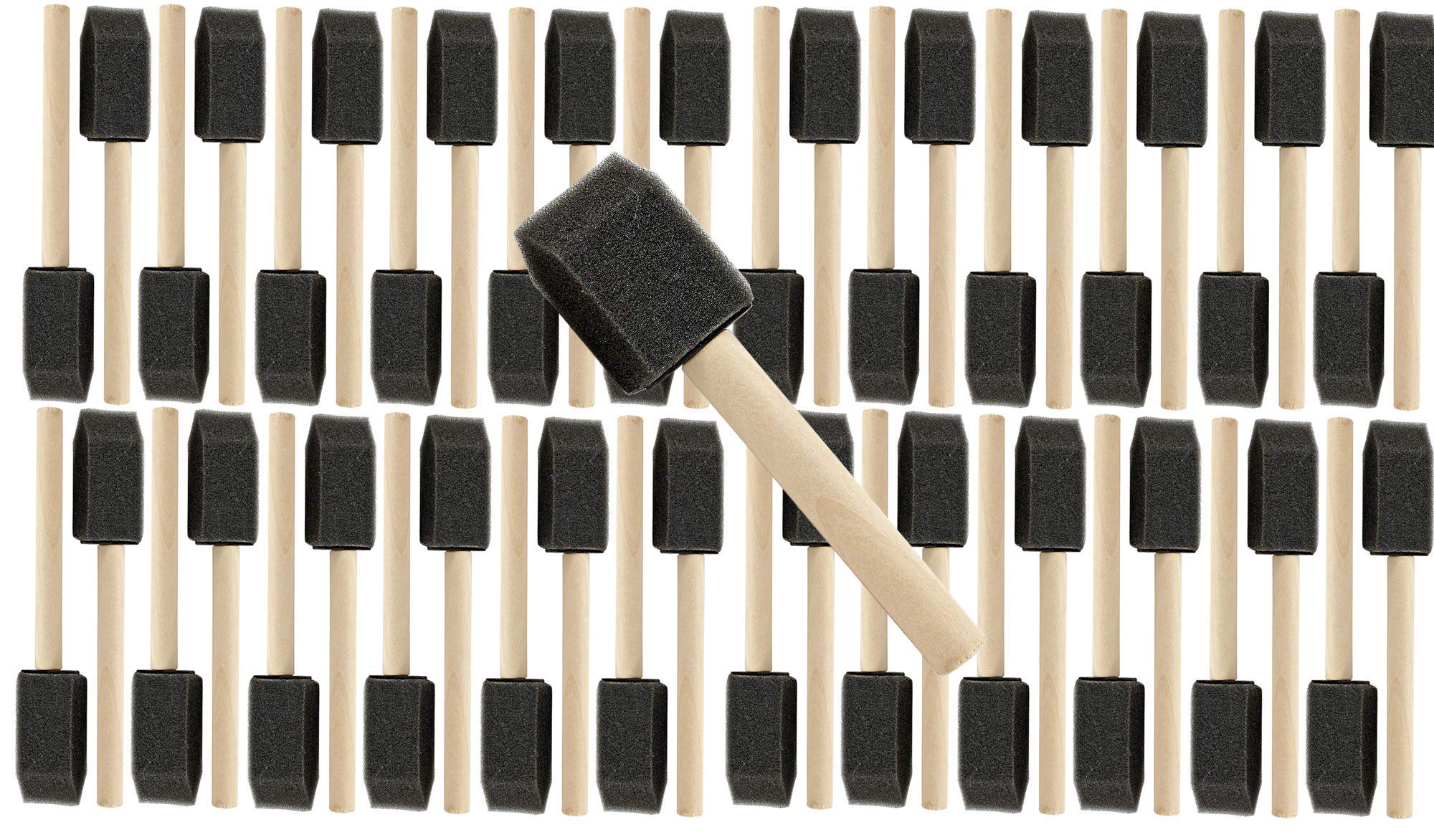 10 PK 1'' Wooden Handle Poly Foam Brushes 48 PC Set Great for Crafts, Touch ups, Art, Paints, Stains by ProGrade Supplies