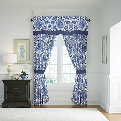 Croscill Leland Curtain Panel Pair, Navy
