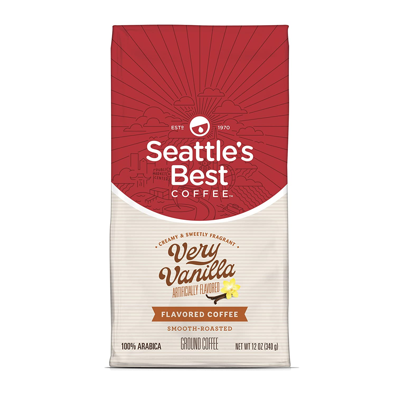 Seattle's Best Coffee Very Vanilla Flavored Smooth Roast Ground Coffee, 12-Ounce Bags