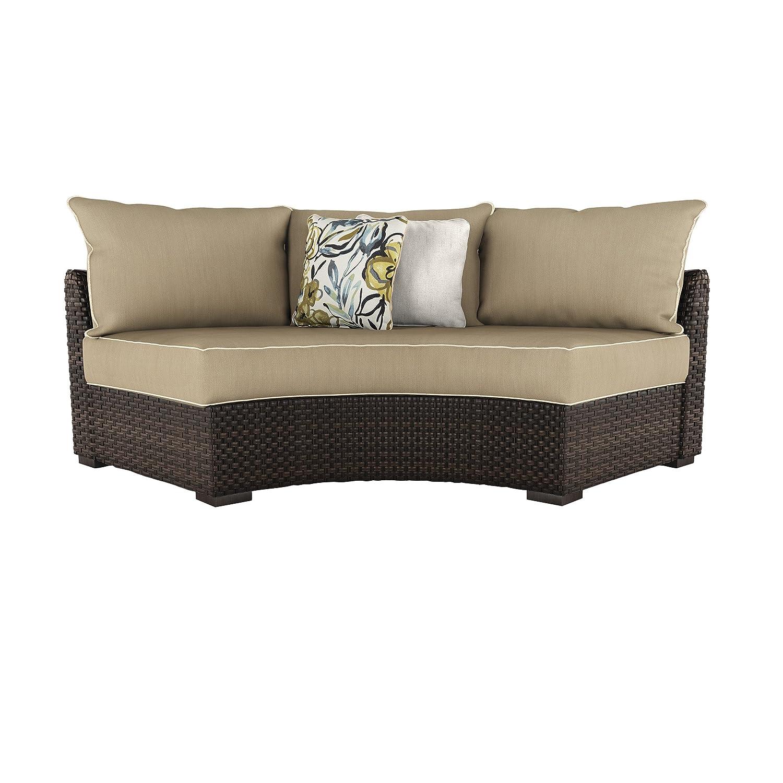 Amazon com ashley furniture signature design spring ridge outdoor curved corner chair with cushion beige brown garden outdoor