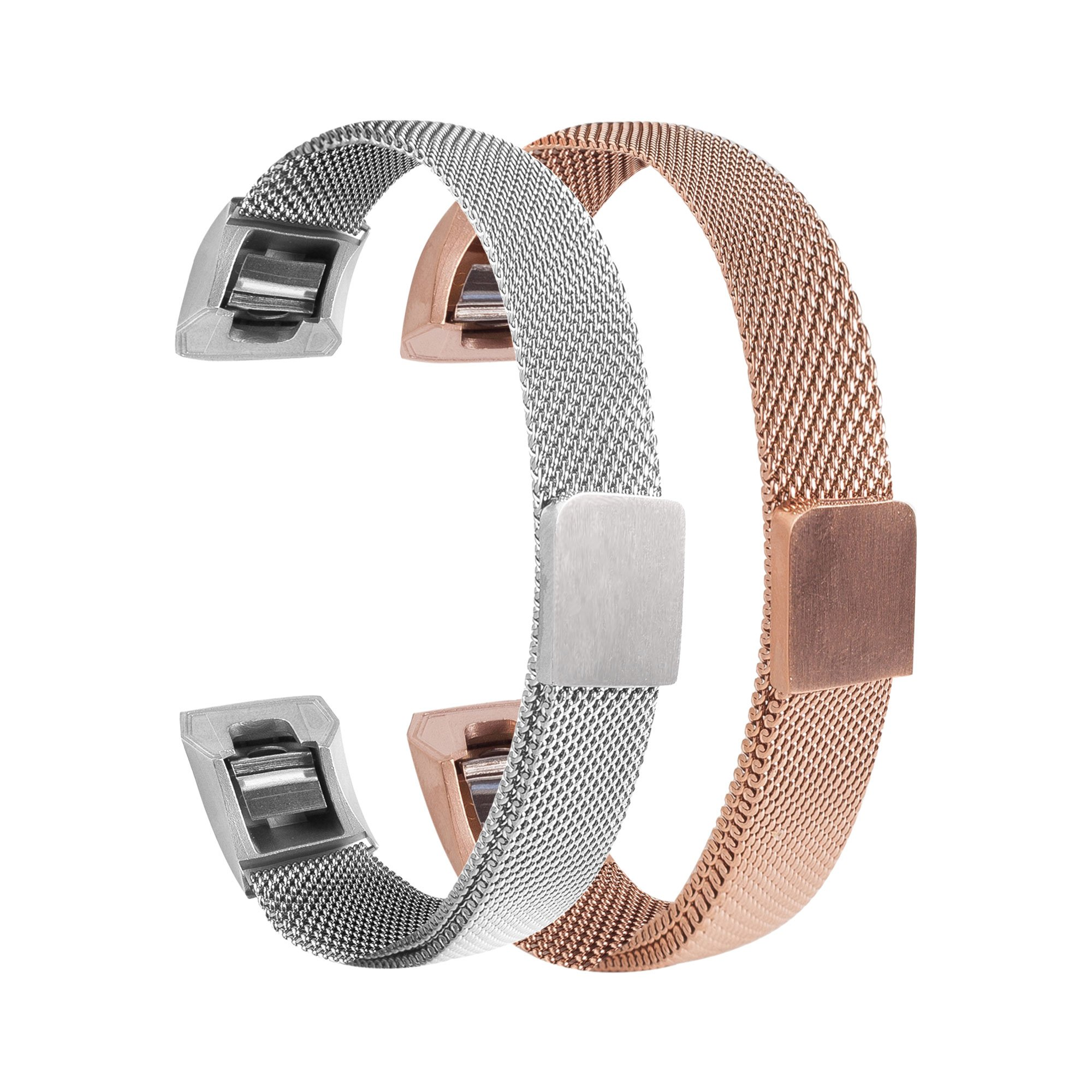 Bewish 2 Pcs Milanese Loop Stainless Steel Watch Band Bracelet for Fitbit Alta/Alta HR Magnet Clasp Lock Adjustable Replacement Watch Strap (S, Silver & Rose Gold)