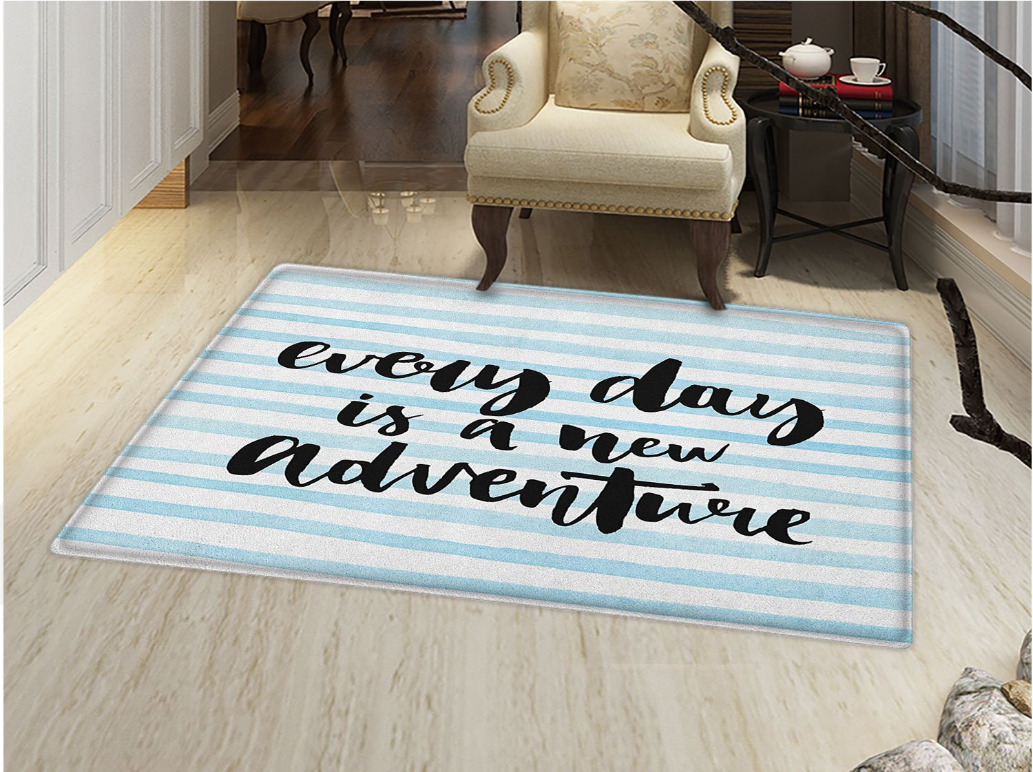 smallbeefly Adventure Door Mat indoors Every Day is a New Adventure Quote Inspirational Things About Life Artwork Customize Bath Mat with Non Slip Backing Baby Blue Black