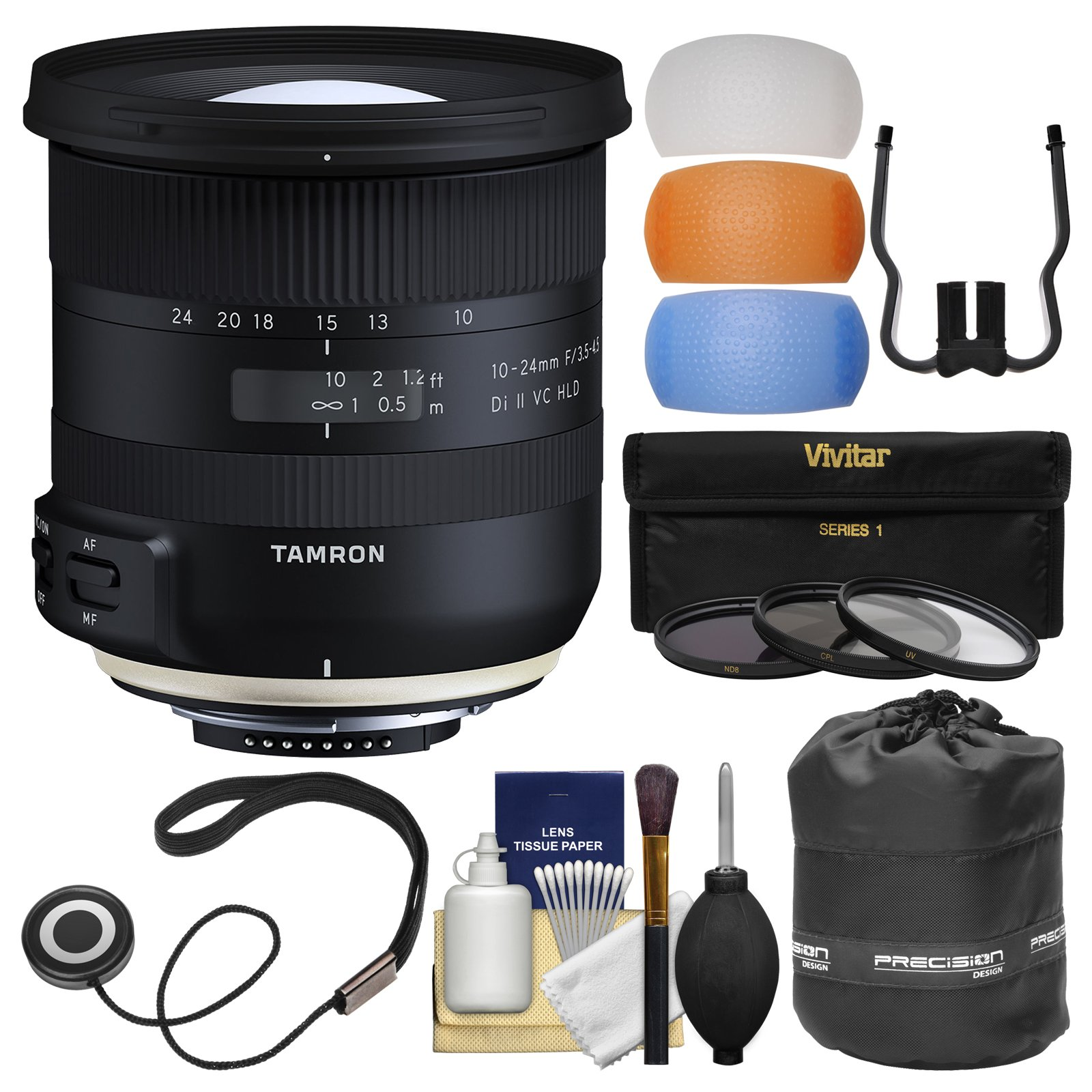 Tamron 10-24mm f/3.5-4.5 Di II VC HLD Zoom Lens with 3 UV/CPL/ND8 Filters + Pouch + Flash Diffusers + Kit for Nikon Digital SLR Cameras
