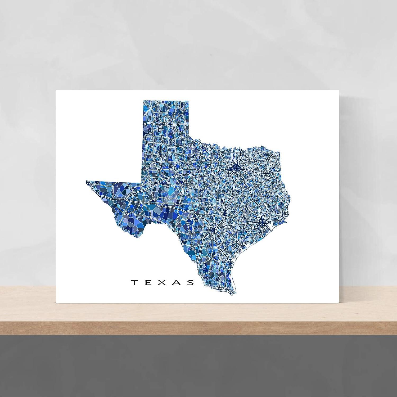 Amazon Com Texas Map Print Tx State Wall Art Decor Blue Handmade