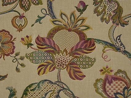 The Millshop Online Jacobean Tapestry Fabric Teastain Curtain