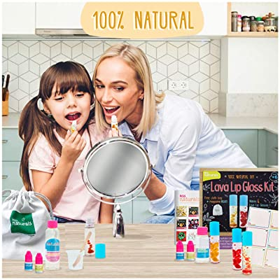 Kiss Naturals Kids Lip Gloss Making Kit - DIY Lip Gloss Kit Make Your Own Lava Effect - All Natural Fun Art Projects for Kids Crafts - Made in North America: Toys & Games [5Bkhe1102384]
