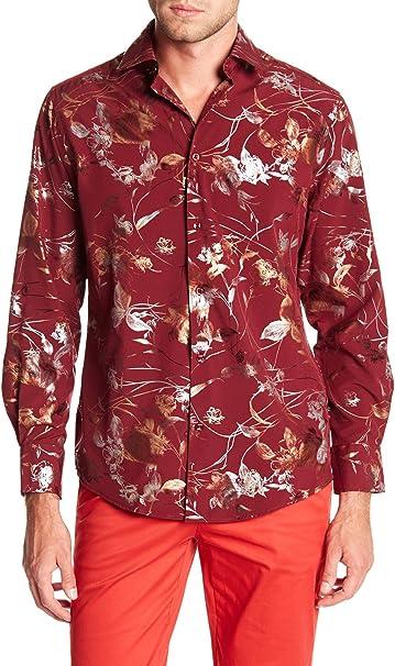 Mens Premier Shirt Short Sleeve Black Gold Leaf Stars Pattern SLIM FIT Button
