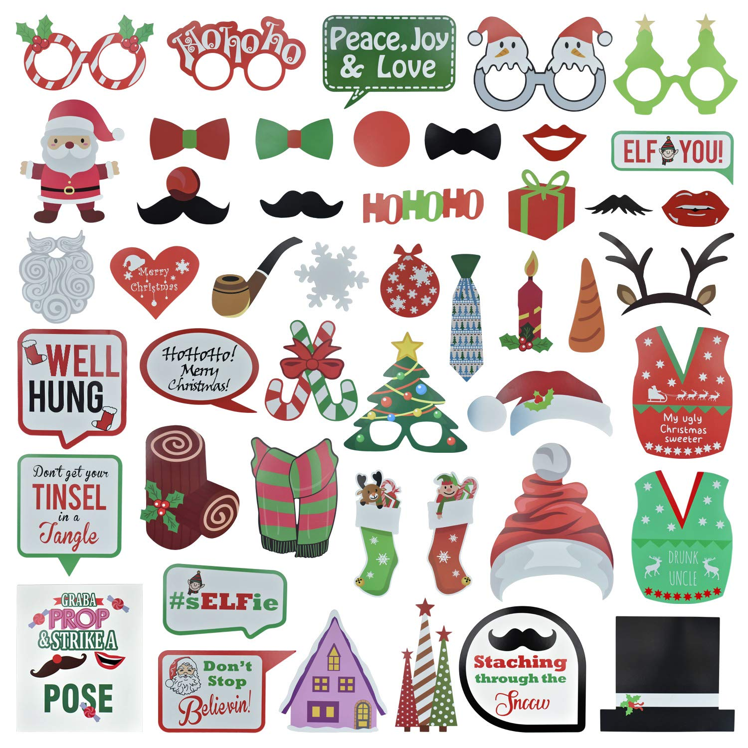 Selfie Prop for New Year 2019,Santa Hat Party Masks Photo Booth Props Mustache On A Stick 62Pcs Christmas Photo Booth Props Kit for Party Supplies and Christmas Decorations