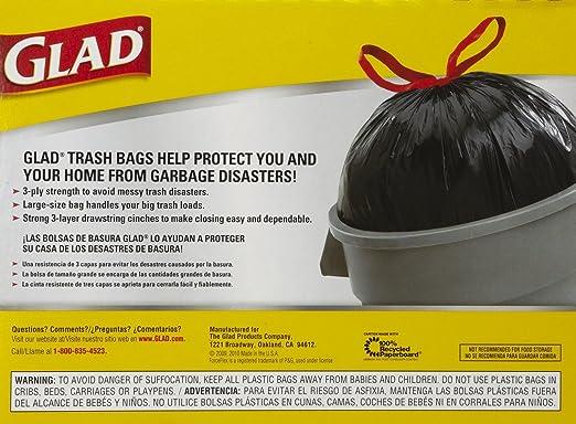 Amazon.com: Glad Drawstring Trash Bags - 30 gal - 28 ct - 2 pk ...