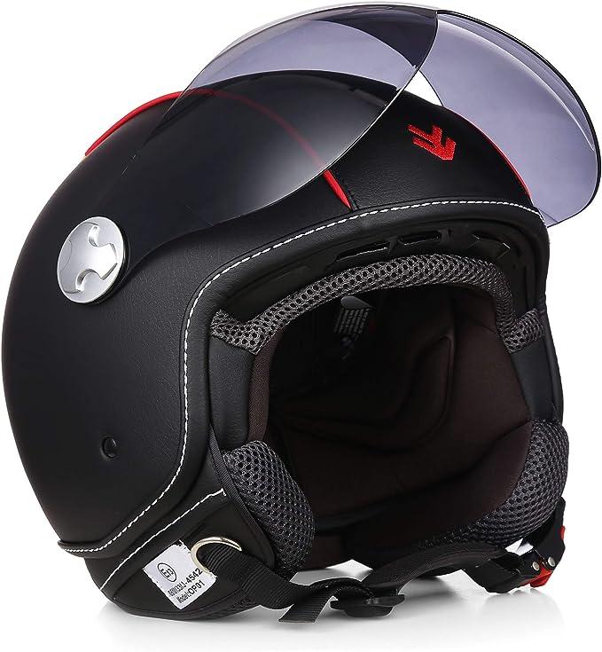 "Armor /· AV-84 Pure /""Croko/"" /· Open Face Helmet /· Retro Jet Motorbike Motorcycle Scooter Pilot /· ECE certified /· Visor /· Exclusive Leather-Design /· Click-n-Secure Clip /· Carrier Bag /·"