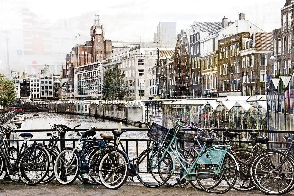 Cuadro de Amsterdam - puente con bicicletas - tamaño 50 x 70 cm ...