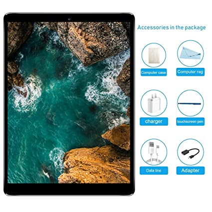 Tablet 10.1 Pulgadas 4G LTE, Android 7.0 Tablet PC con Dual SIM, Quad Core, 3 GB de RAM + 32 GB ROM, Cámara Doble, 8000mAh, Bluetooth, GPS, OTG, WiFi
