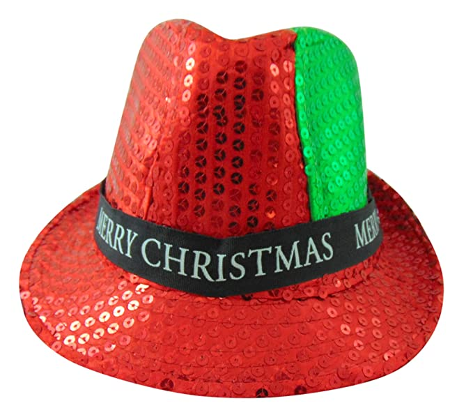28460700b01 Amazon.com  88 MC Merry Christmas Light Up Flashing Fedora Hat Party Wear  with Sequin  Toys   Games