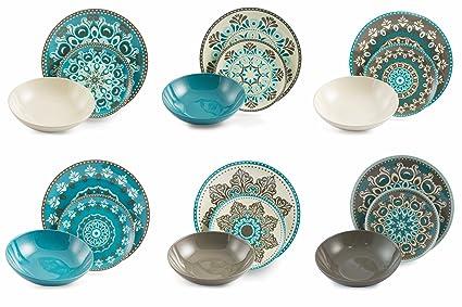 Villa D Este Servies.Villa D Este Home Tableware 18 Pieces Cala Jondal Multicoloured