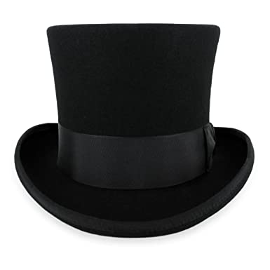 2ff51522027 Belfry John Bull Theater-Quality Men s 100% Wool Felt Top Hat in Black Small