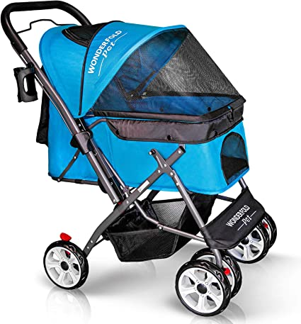 WONDERFOLD P1 Folding Pet Stroller Wagon for Dogs/Cats - Best For Protection