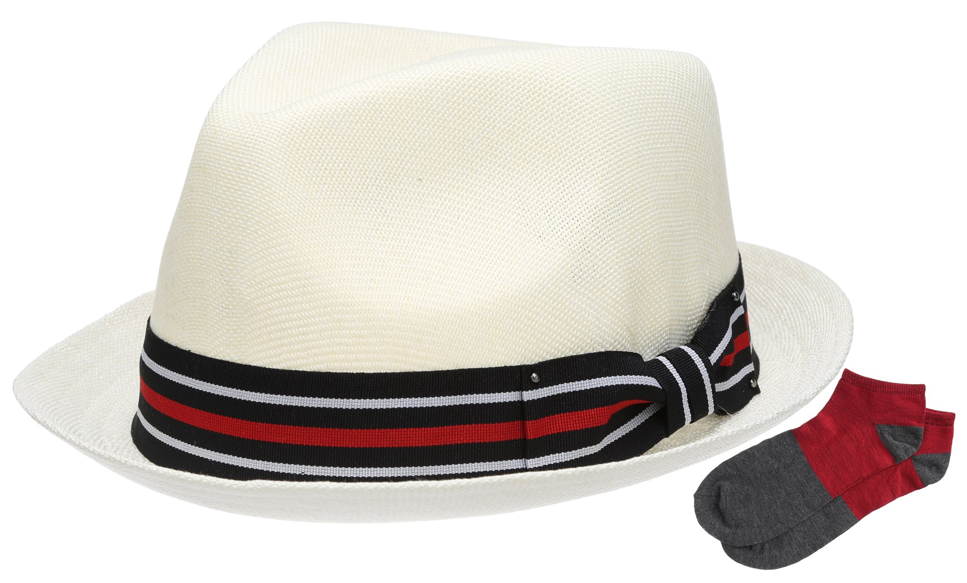 Men's Summer Lightweight Linen Fedora Hat with Casual Low Cut Sock (F2261-OFFWHITE,SM)