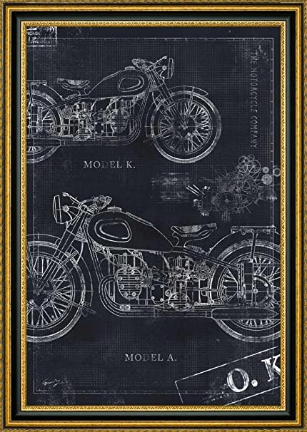 Amazon motorcycle co blueprint black ii by eric yang 12 x motorcycle co blueprint black ii by eric yang 12quot x 18quot framed malvernweather Gallery