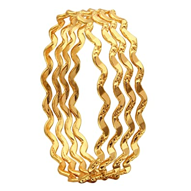 a0e45cddc22c3 Sasitrends 1 Gram Gold Plated Thin Size Daily Wearable Bangles for Women -  Set of 4
