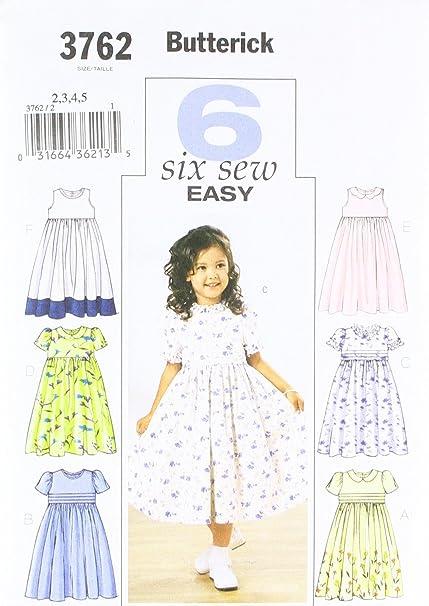 Amazon.com: Butterick Patterns B3762 Childrens\' & Girls\' Dress, Size ...