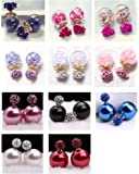 UMEYS Fahion Super Double-sided Beads with Beads Zircon Stud Earrings <11 sets (color-10)>