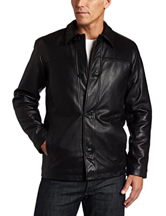 Perry Ellis Portfolio Mens Lambskin Leather Button Front Jacket at Amazon Mens Clothing store: Leather Outerwear Jackets