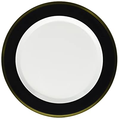 Premium Plastic Round Plates | White/Jet Black | 10.25"