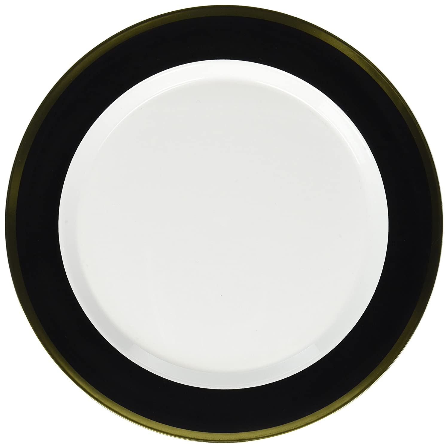 Pack of 10 Party Supply Amscan 430583.10 White//Jet Black Premium Plastic Round Plates 10.25