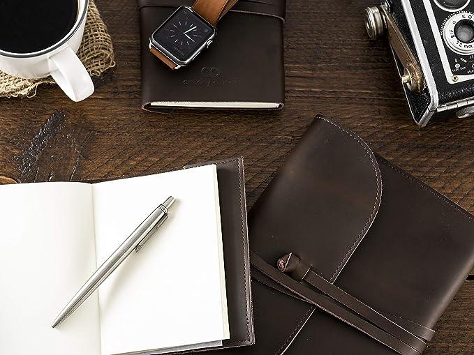 Cuaderno Diario Cubierta de Cuero Auténtico | Papel de Primera Calidad Sin Pautar | Diario de Viajes | Páginas Fijas | para Hombres y Mujeres | Marrón ...