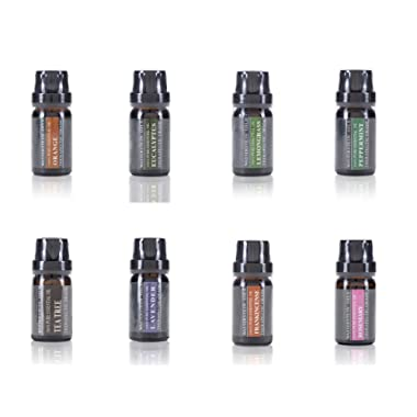 Aromatherapy Oils 100% Pure Basic Essential Oil Gift Set by Wasserstein (Top 8, 10ml)