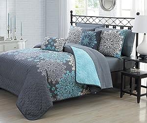 Geneva Home Fashion Amber 7pc Reversible Quilt with Sheet Bedding Set, Twin, Aqua