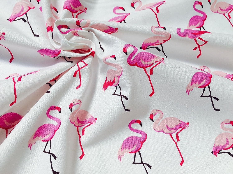 100/% Cotton Poplin Fabric Rose /& Hubble Small Flamingo Bird Print Craft Material