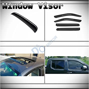 4PCS For 2005-2017 Nissan Frontier Crew Cab 4 Door Sun Rain Guard Window Visors