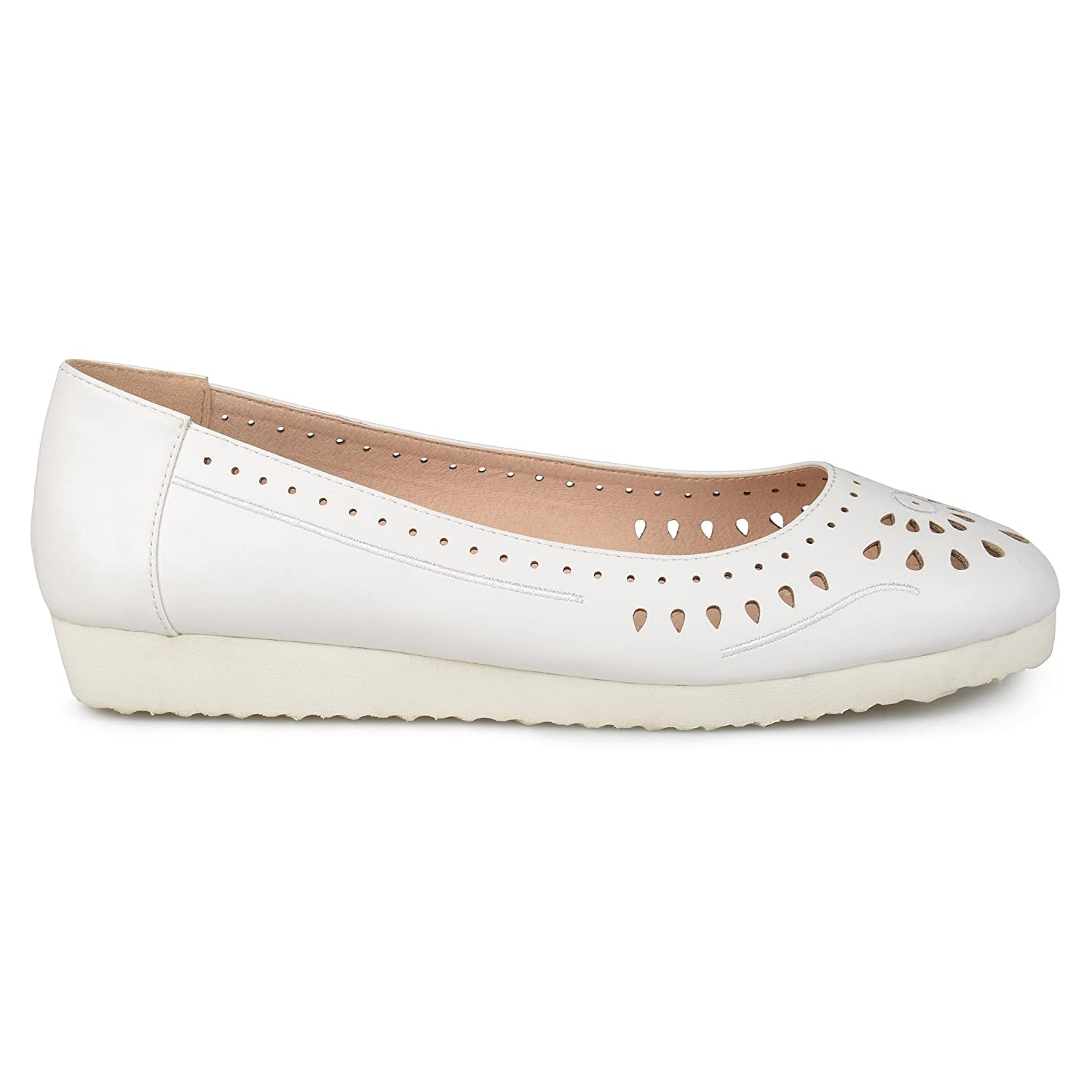 Brinley Co Womens Cyra Faux Leather Laser-Cut Comfort-Sole Embroidered Lightweight Flats B0757348LQ 6 B(M) US|White