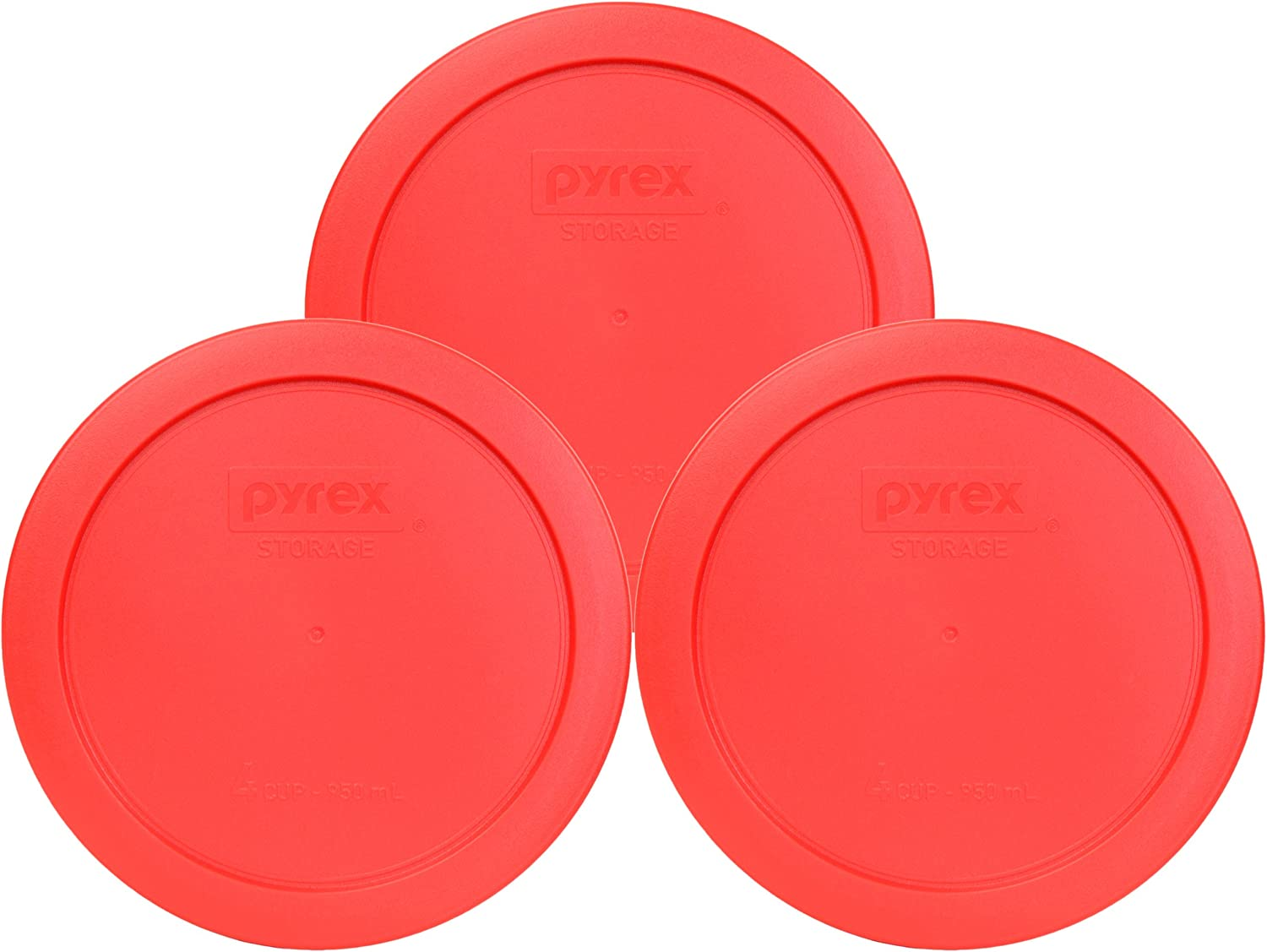 Pyrex 7201-PC Round 4 Cup Storage Lid for Glass Bowls (3, Red)