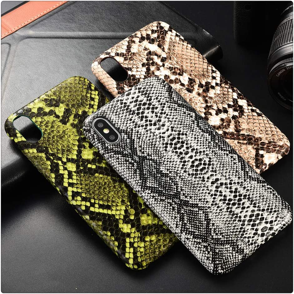 Mixneer iPhone Snake Skin Case, Snake Skin PU Leather Cover Case for iPhone Crocodile Texture Soft Back Cover (Snake Brown, iPhone Xs)