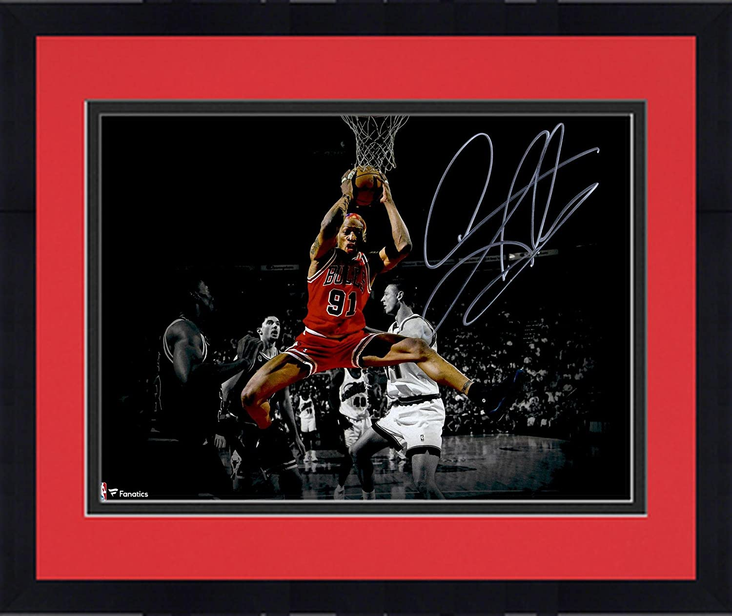 Framed Dennis Rodman Chicago Bulls Autographed 11' x 14' Spotlight Rebound Photograph - Fanatics Authentic Certified