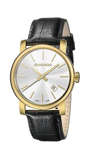 703a5fd0e63 Wenger 01.1041.119 - Reloj analógico de cuarzo para hombre con correa de  piel