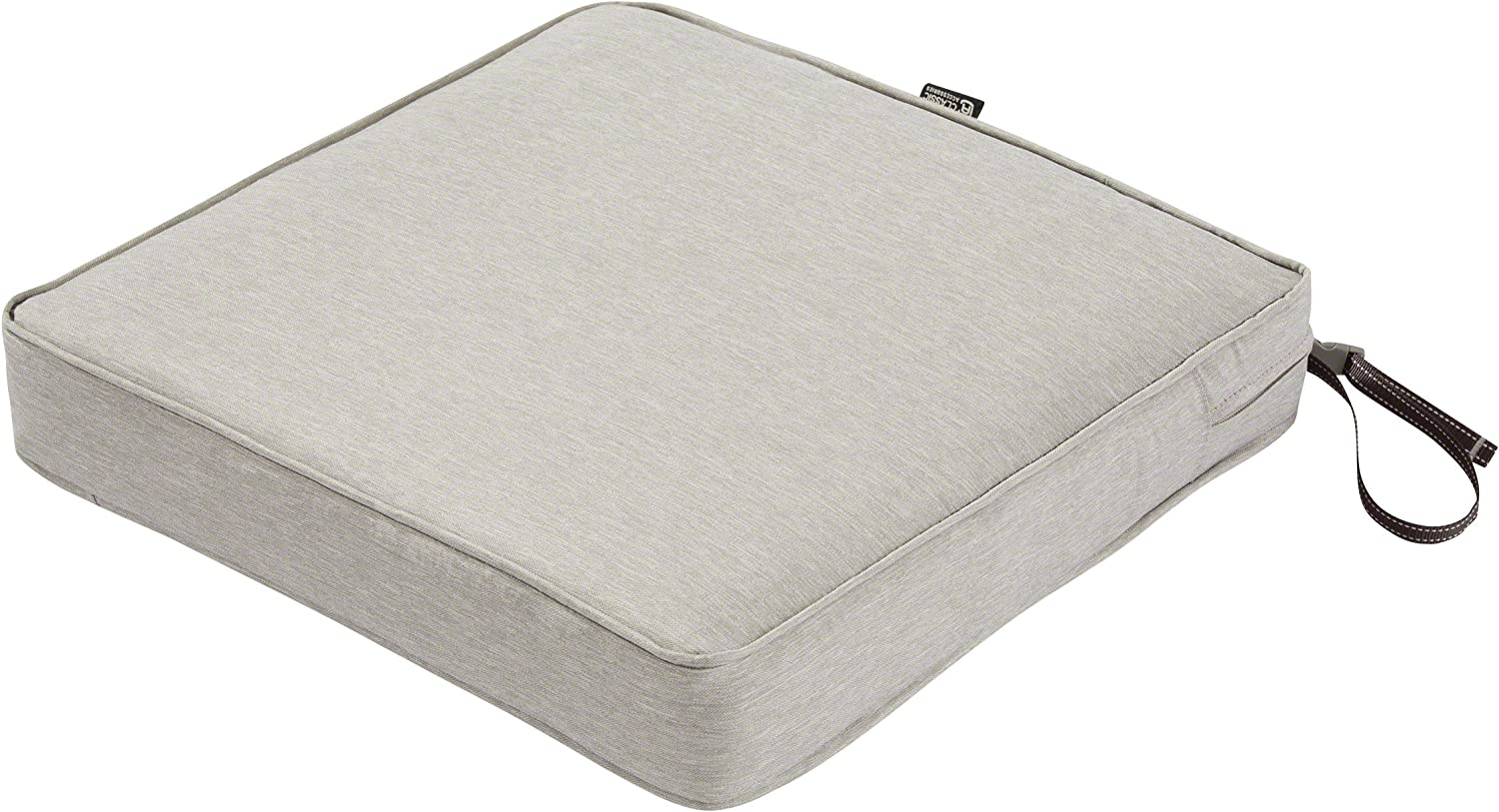Classic Accessories Montlake Water-Resistant 19 x 19 x 3 Inch Patio Seat Cushion, Heather Grey