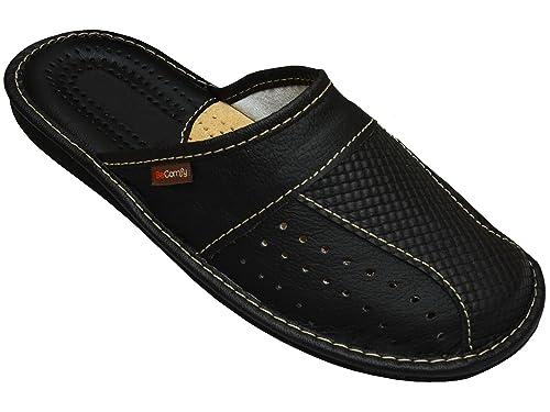 Hot Sale Herren Hausschuhe Leder Pantoletten Pantoffeln Braun 40 41 42 43 44 45 46 47 Clothing, Shoes & Accessories