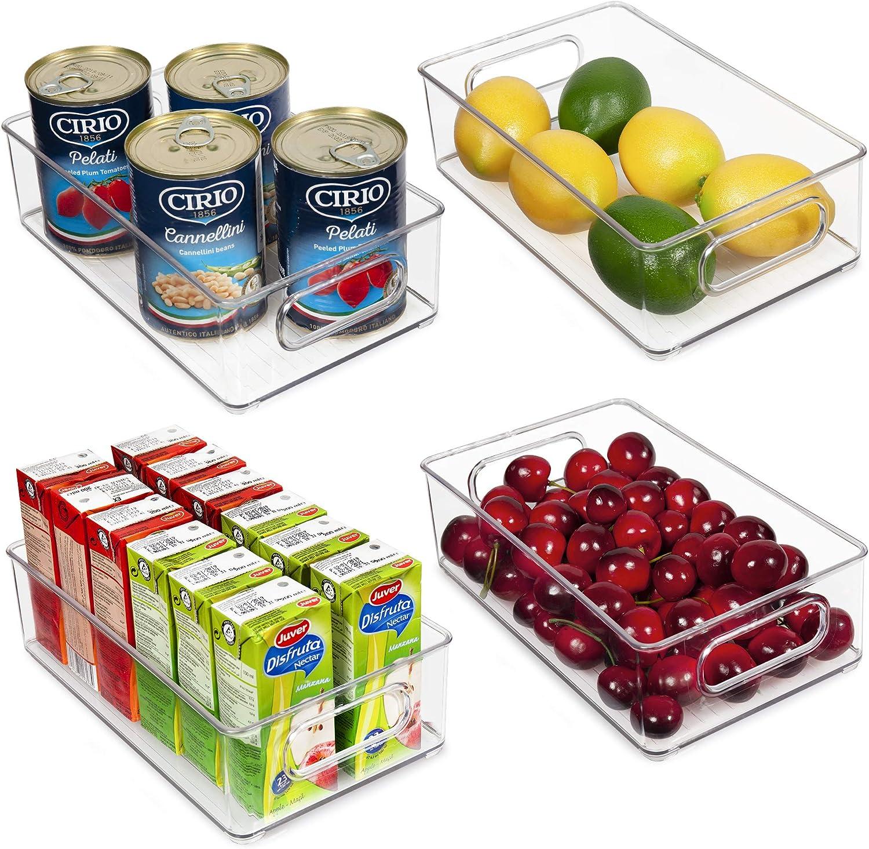 Vtopmart Stackable Clear Plastic Storage Bins, 4 Pack Food Organizer Bins with Handles for Refrigerator, Freezer, Cabinet, Kitchen, Pantry Organization, BPA Free, 10