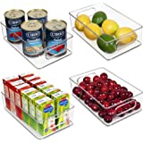 Vtopmart Stackable Clear Plastic Storage Bins, 4 Pack Food Organizer Bins with Handles for Refrigerator, Freezer, Cabinet, Ki