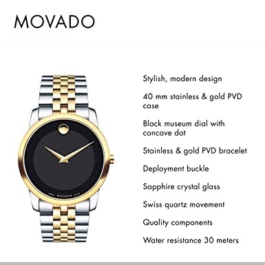 Movado Men s Museum Two Tone Watch with Concave Dot Museum Dial, Gold Black Brown Strap 606899