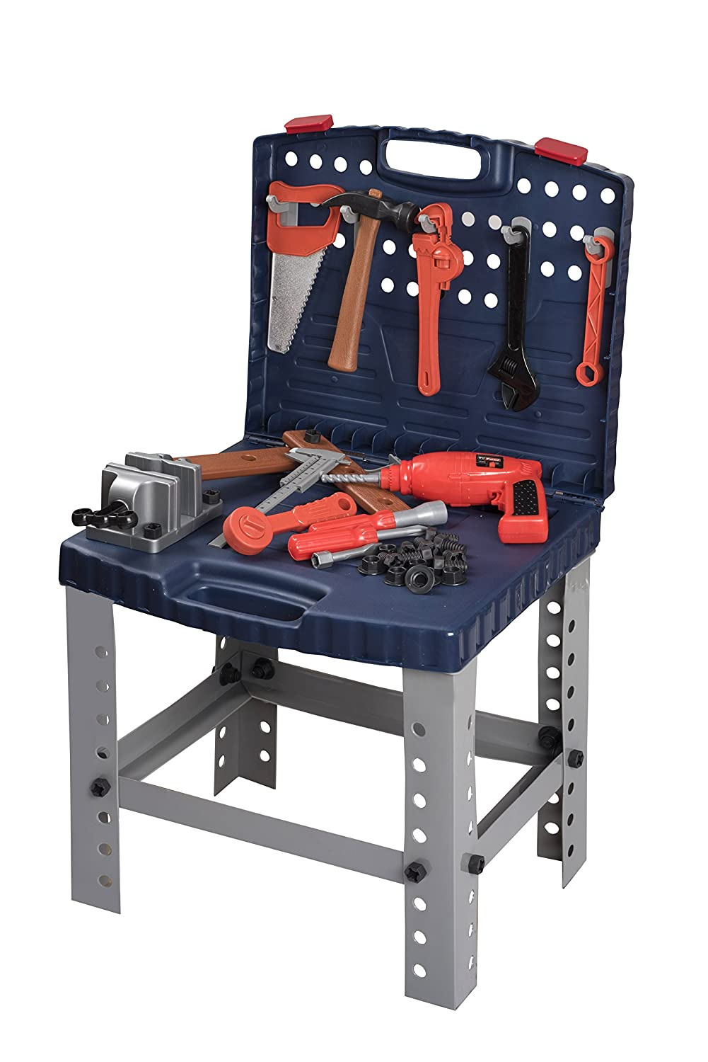Toy Tool Set Workbench For Toddlers And Children Pretend Play- Kids Workshop Toolbench Building Toys - Kids Tools Playset With Realistic Tools And Electric Drill Toyrifik