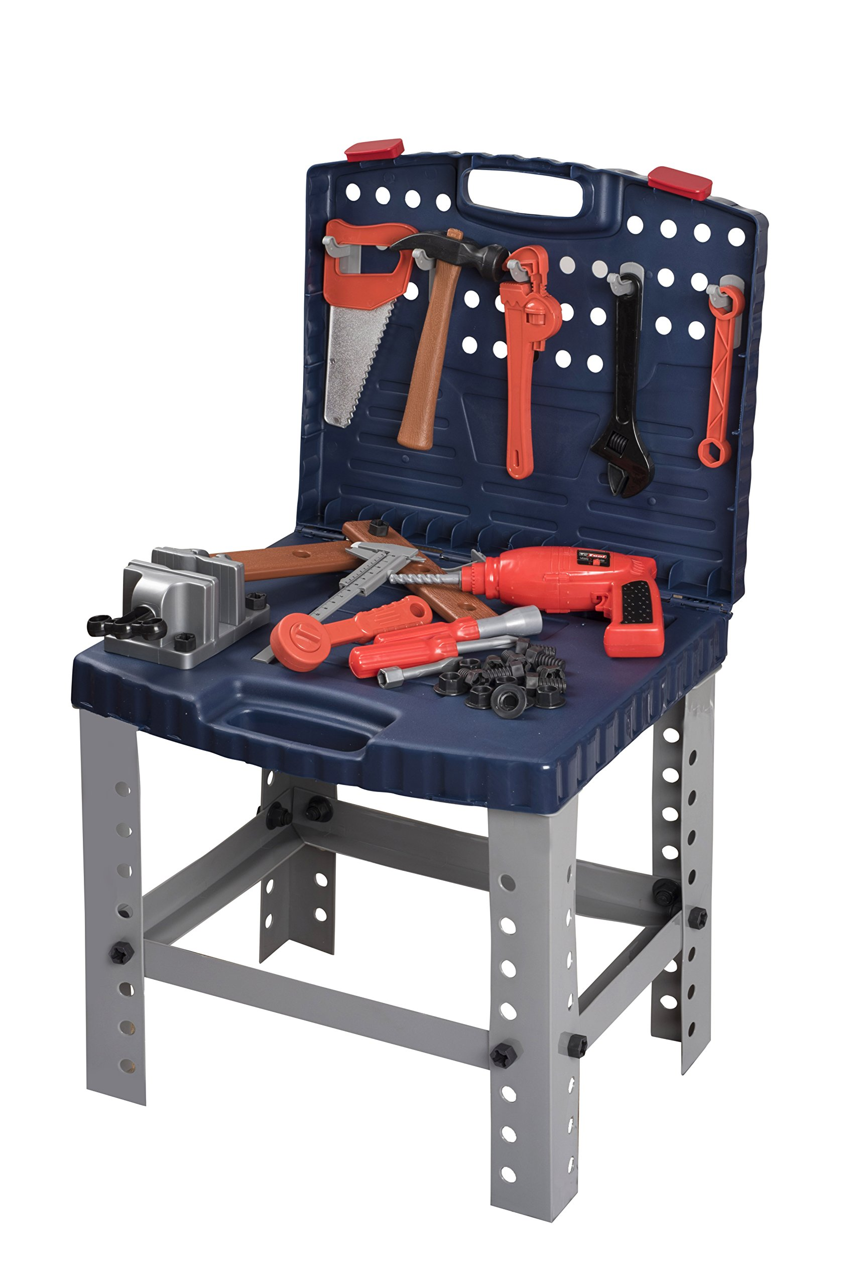 Toy Tool Set Workbench for Toddlers and Children Pretend Play- Kids Workshop Toolbench Building Toys - Kids Tools Playset with Realistic Tools and Electric Drill by Toyrifik (Image #1)