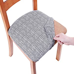 Lanmei Dining Chair Seat Covers, 4pcs Stretch Polyester Fitted Dining Room Upholstered Chair Seat Cushion Cover, Removable Washable Furniture Protector Slipcovers with Ties