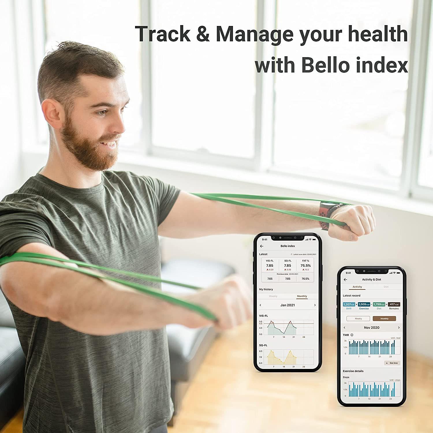 Bello - Belly Fat Scanner - Accurate Metabolic Health Analyzer with Smart App - Bluetooth, Handheld, Compatible with Apple Health and Google Fit: Health & Personal Care