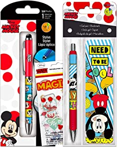 Disney Mickey Mouse Pen Set ~ Bundle Includes Mickey Ballpoint Pen and Stylus Combination, Gel Pen, Bookmark, and Stickers (Mickey Mouse Office Supplies)