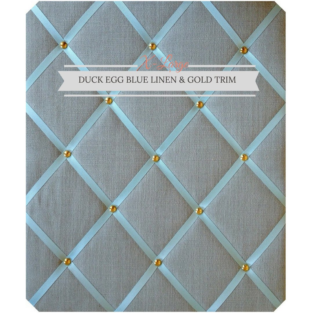 X Large Size Duck Egg Blue Linen Memo Board with Gold Studwork by Notice Board Store