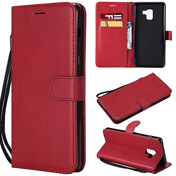 premium selection af73d dd736 Case For Galaxy A8 Plus 2018/A730, Samsung A8 Plus Cases, Solid Colored  Premium PU Leather Wallet Flip Phone Protective Cases Cover with Card Slots  ...